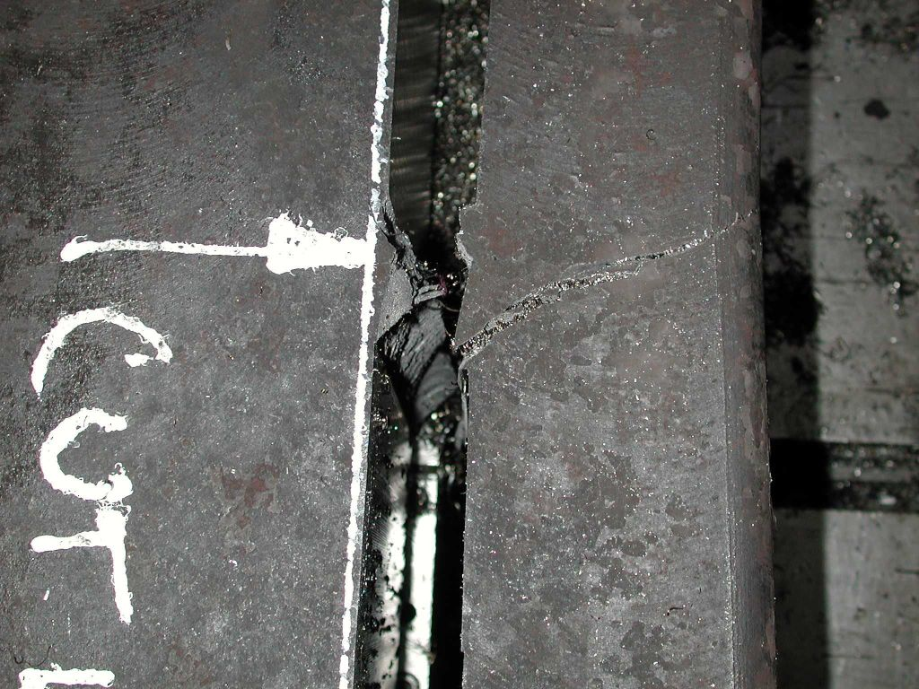 Manganese steel beam fracture point close up...